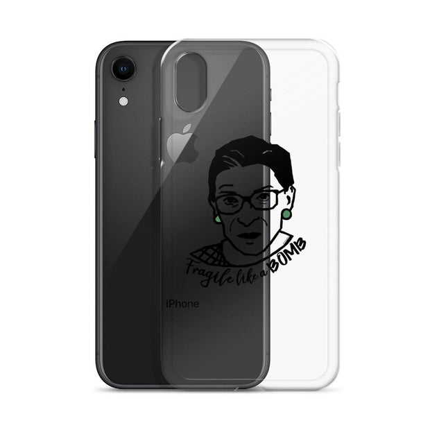 iPhone case with drawing of Ruth Bader Ginsburg and text that says Fragile Like a Bomb