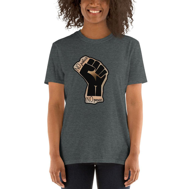 Gray t-shirt with a drawing of the Black Lives Matters fist and text that says No Justice No Peace