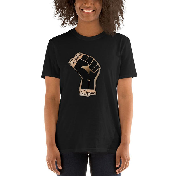 Black t-shirt with a drawing of the Black Lives Matters fist and text that says No Justice No Peace