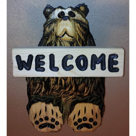 "Chainsaw carved bear-12"" sitting welcome"
