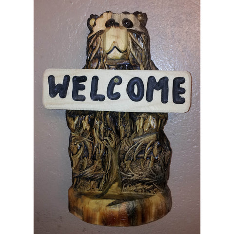 "Chainsaw carved bear-18"" standing welcome"
