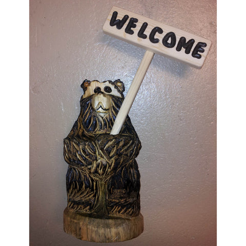 "Chainsaw carved bear-18"" standing stick sign welcome"