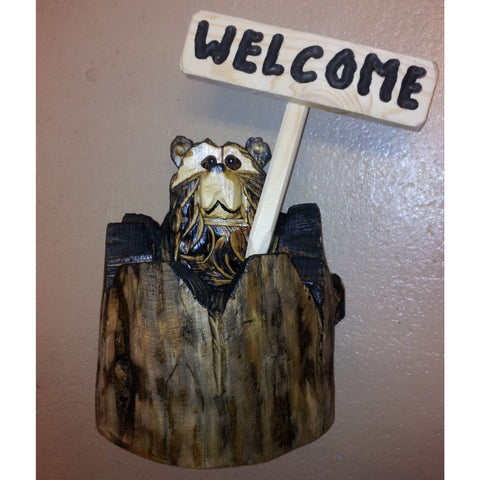 "Chainsaw carved bear-20"" stump welcome"