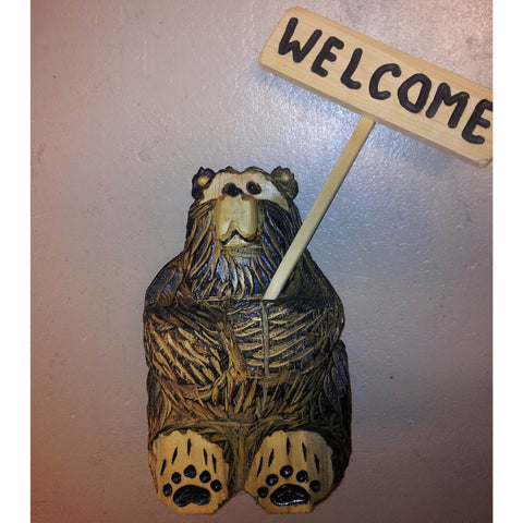 "Chainsaw carved bear-18"" sitting stick sign welcome"