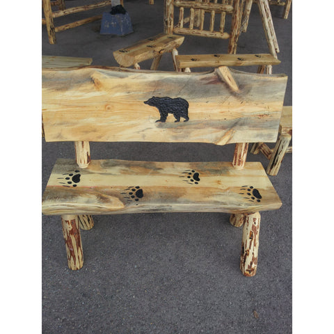 5' Half-Log Bear Silhouette Bench w/Slab Back