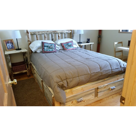 Montana Pioneer Rustic Log Platform Bed with 2 Drawers