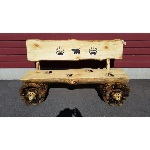 Chainsaw Carved Rustic Half-Log Bear Bench w/Back