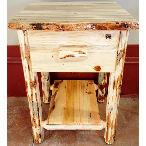 Montana Pioneer Rustic 1-Drawer Log Nightstand