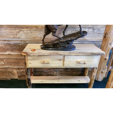 Montana Pioneer Rustic Log Sofa Entry Table