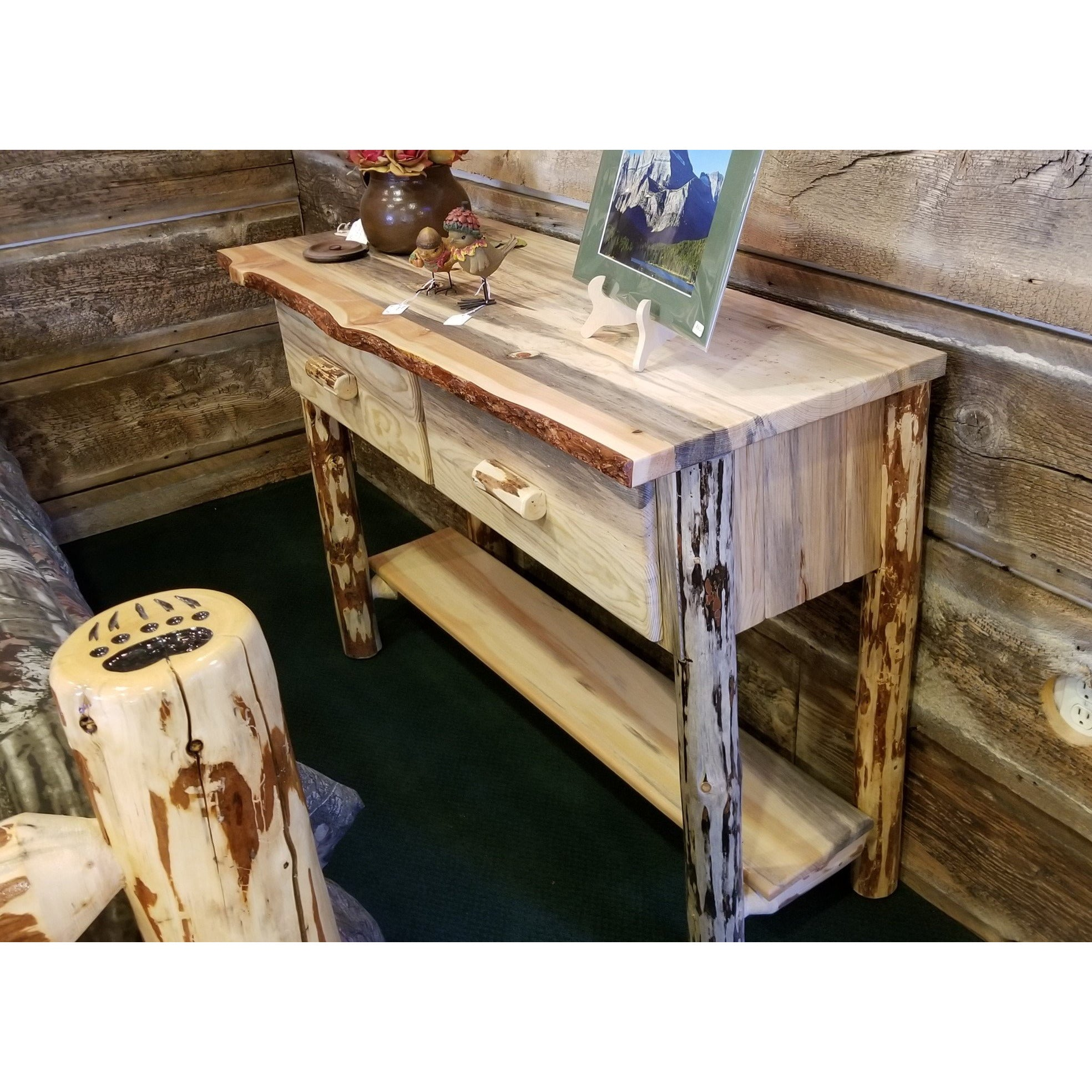 Astounding Montana Pioneer Rustic Log Sofa Entry Table Alphanode Cool Chair Designs And Ideas Alphanodeonline
