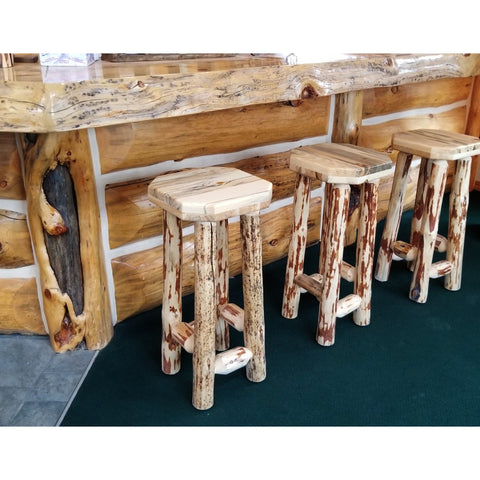 Montana Pioneer Rustic Log Bar Stool