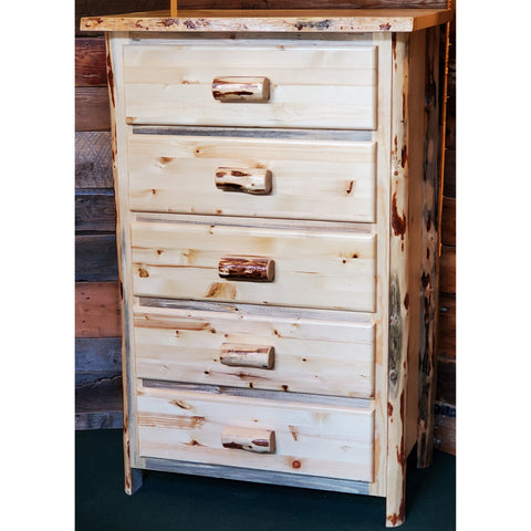 Montana Pioneer Rustic 5-Drawer Log Chest