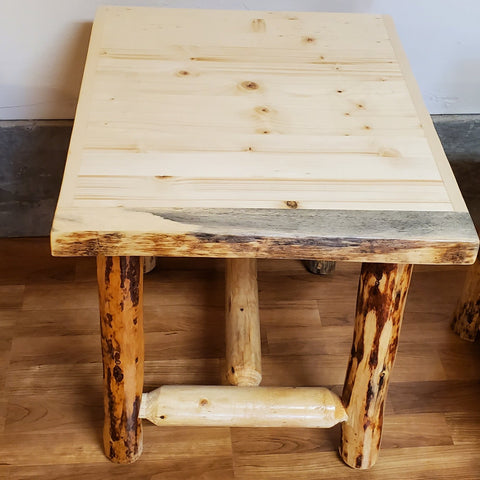 Montana Pioneer Rustic Log End Table