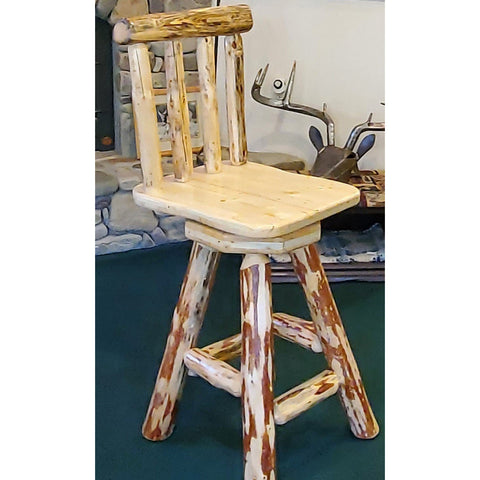Montana Lodge Bar Stool with Back and Swivel Seat