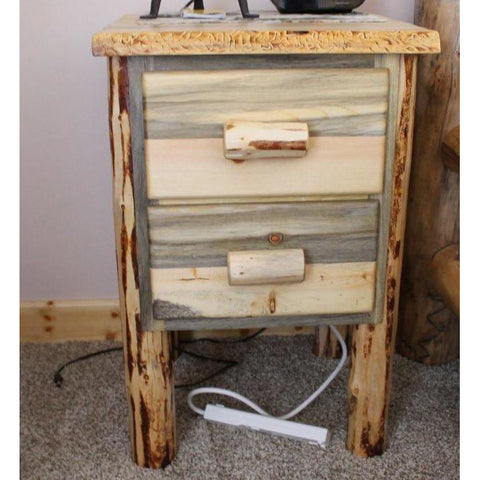 Montana Pioneer Rustic 2-Drawer Log Nightstand