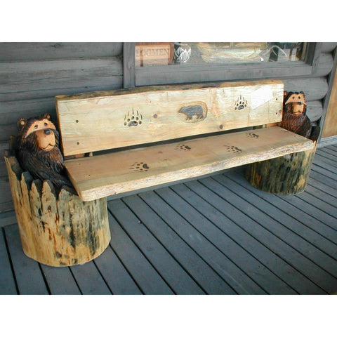 Stump Bears Holding Bench