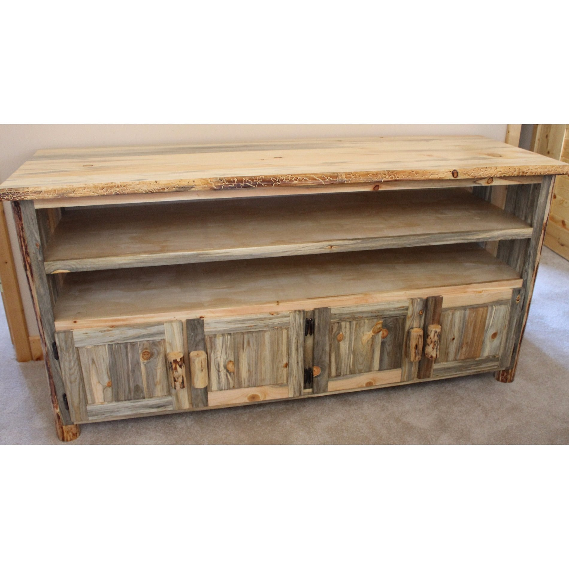 Montana Pioneer Rustic Log TV Stand