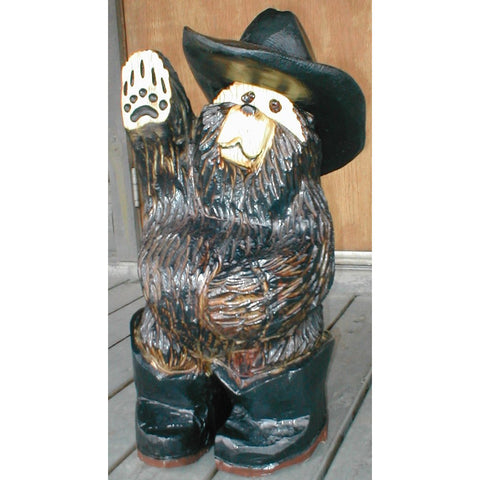 "Chainsaw carved bear-20"" cowboy"