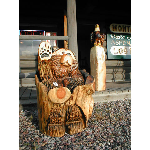 "Chainsaw carved bear-18"" stumpstuck waving"