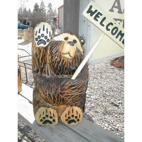 Chainsaw carved bear-sitting, waving, welcome (3 sizes)