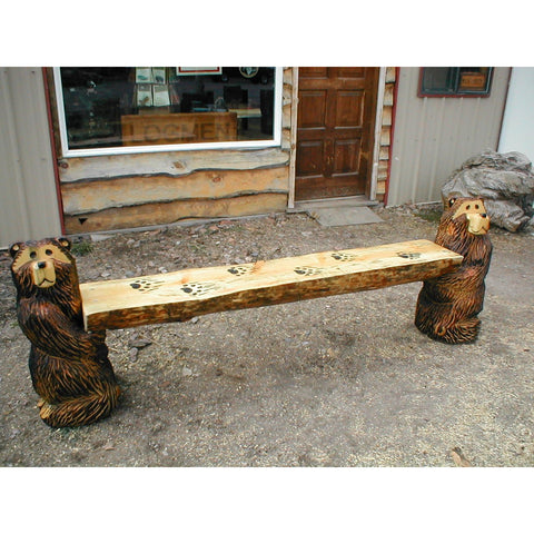 Chainsaw Carved Rustic Half-Log Kneeling Bear Bench