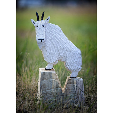 Chainsaw carved mountain goat-24""