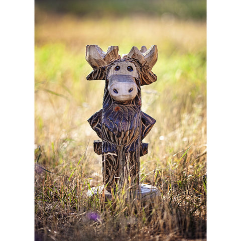 "Chainsaw carved moose-20"" standing"