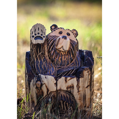 "Chainsaw carved bear-20"" stumpstuck waving"