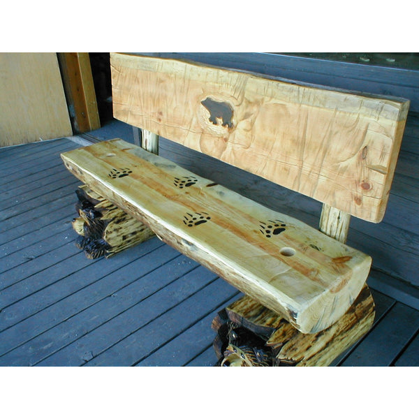 Chainsaw Carved Rustic Half Log Bear Bench W Back Great Northern Logworks