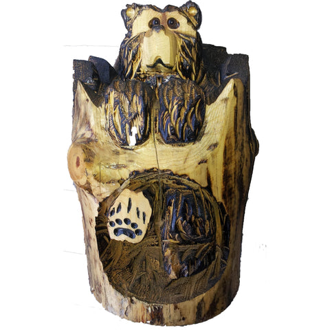 "Chainsaw carved bear-18"" cubstump"