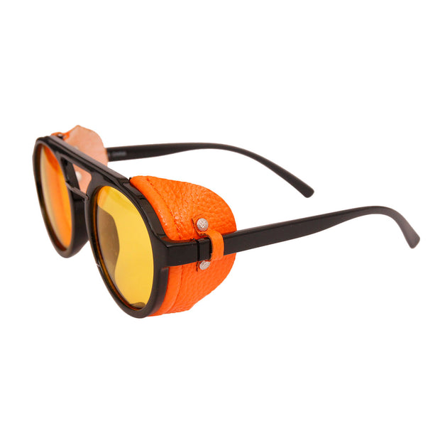 Vintage orange motorcycle sunglasses