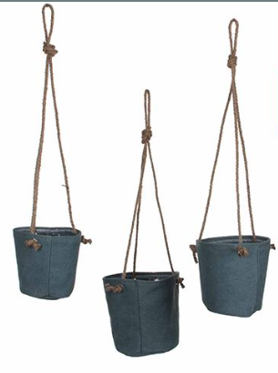 Hanging Green Set of 3 Pots
