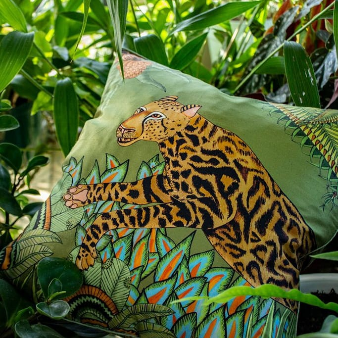 Ardmore- Cheetah Kings Forest Delta Silk Cushion Cover