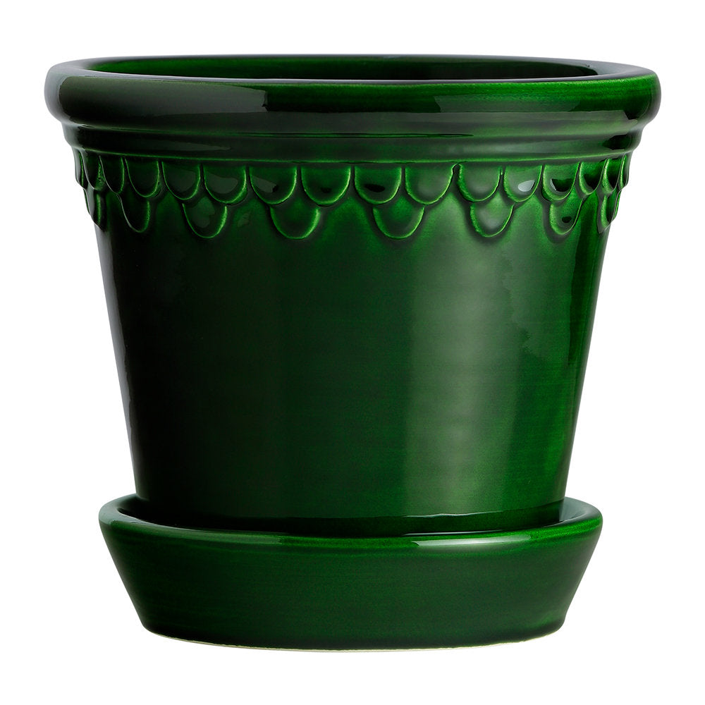 Copenhagen Glazed Plant Pot and Saucer - Emerald