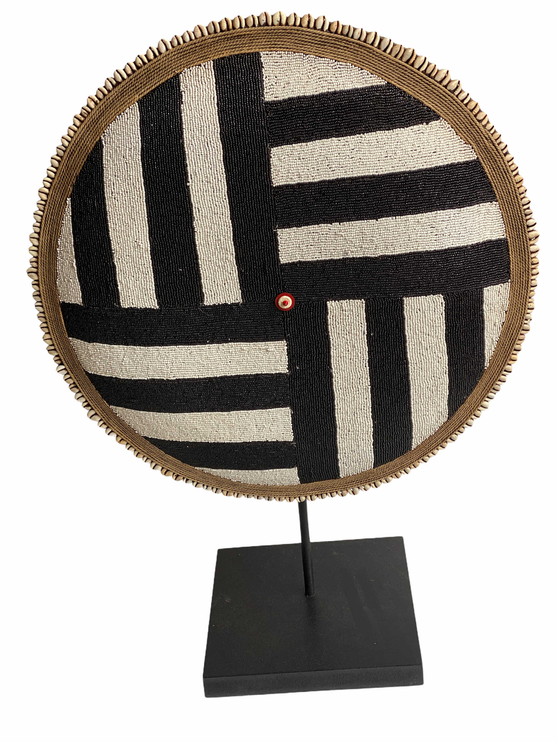 Cameroon Beaded Shield - L - 55cm Black & White