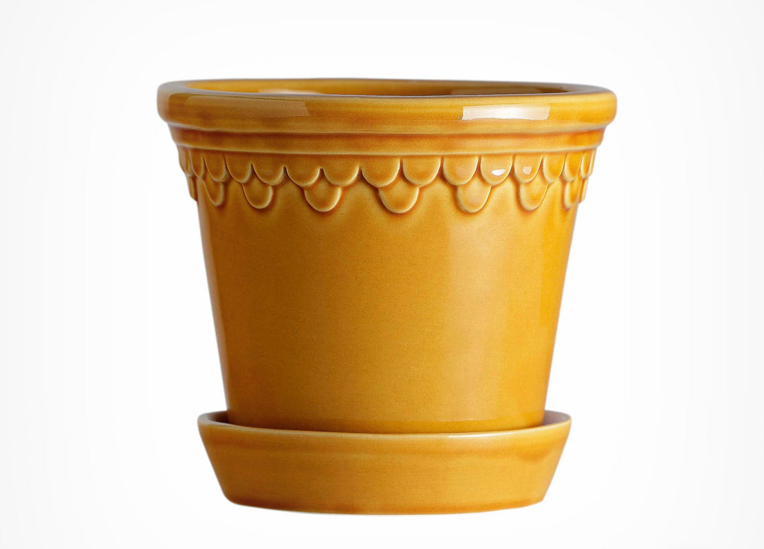 Copenhagen glazed pot - yellow 18cm