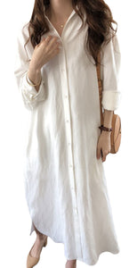 GGUHHU Womens Chic Button Down Rolled-Up Sleeve Long Cotton Blouse Maxi Dress