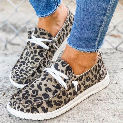 Leopard Leopard Lace Up Round Toe Flat Sneakers LC12328-20