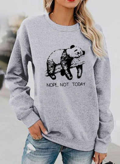 Gray Solid Animal Printed Daily Sweatshirt LC2513127-11