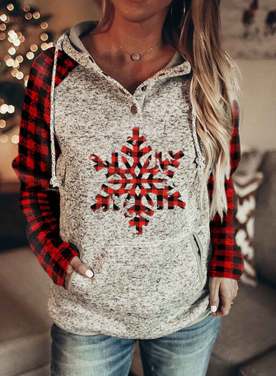 Red Women Christmas Plaid Slogan Letter Long-sleeve Pockets Hoodies LC2533842-3