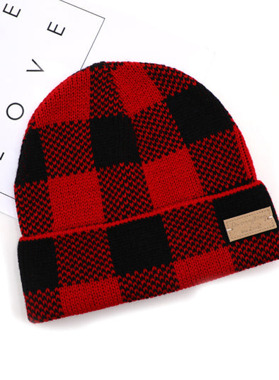 Red Red Checkered Pile Cap LC02262-3