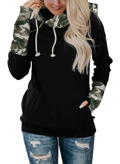 Green Color Block Long Sleeve Casual Hooded LC253915-9