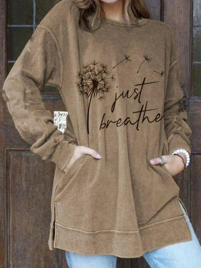 Khaki Women's Just Breathe Dandelion Print Sweatshirt LC2534775-16