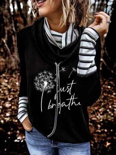 "Black Ladies Faith ""Just Breath"" Dandelion Print Sweatshirt LC2534791-2"