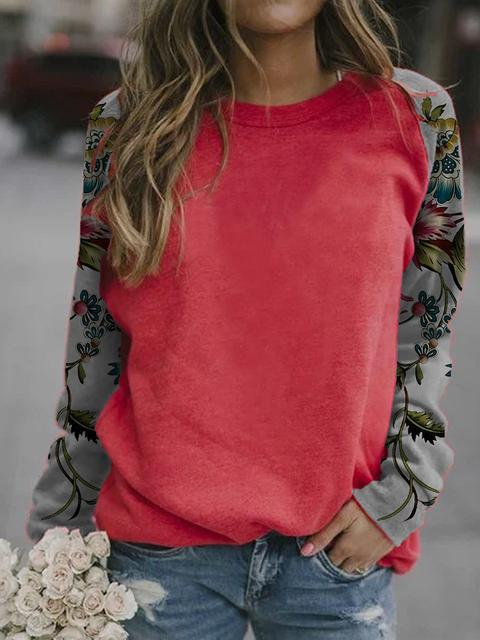 Red Floral Print Sleeve Casual Tops LC2514360-3