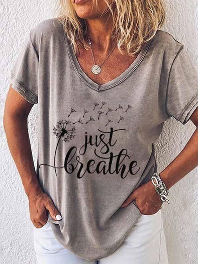 Gray Dandelion Just Breathe Printed V-Neck T-Shirt LC2522155-11