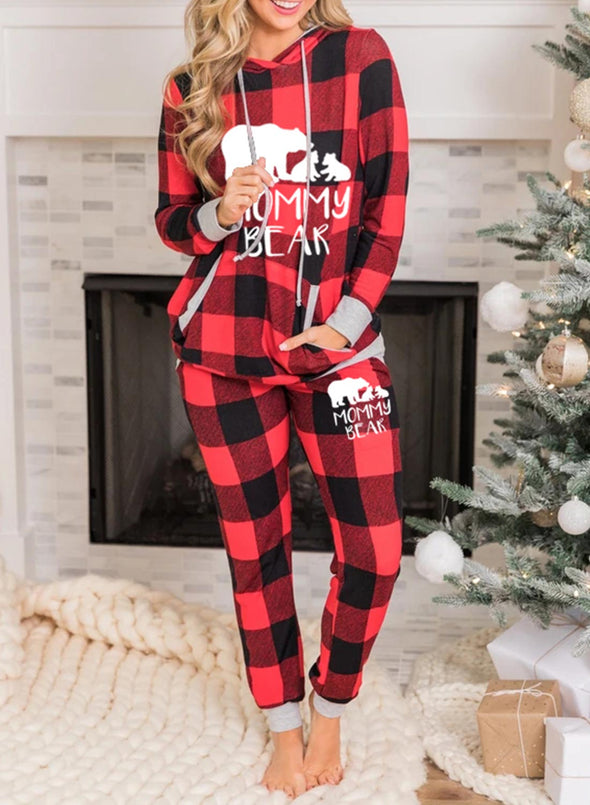 Red Women's Loungewears 2-piece Long Sleeve Hooded Plaid Christmas Loungewear LC451770-3