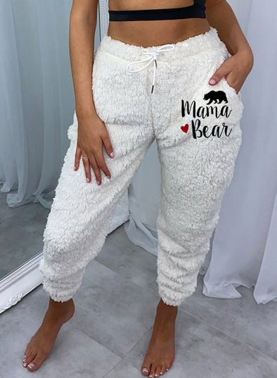White Women's Pants Letter&Animal Print Slim High Waist Ankle-length Pocket Pants LC771057-1