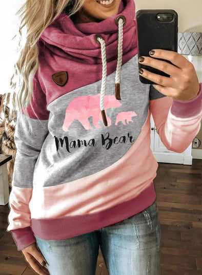 Pink Women's Hoodies Christmas Color-block Animal Print Long Sleeve Hoodie LC2535036-10
