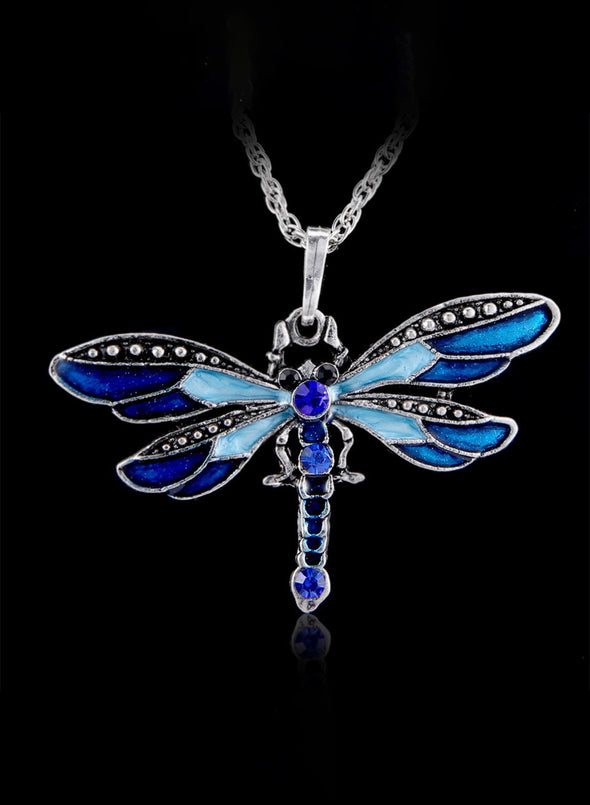 Sky Blue Women's Dragonfly Creative Necklace LC01817-4